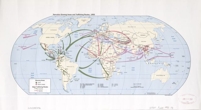 Narcotics growing areas and trafficking routes, 1993 : [world map].