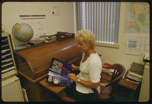 Carole Bradshaw, sales marketing coordinator, in her office upstairs at Watson.