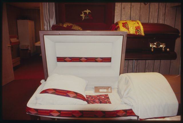 Caskets displayed in the casket room.