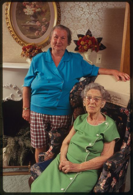 Claire and Anne Murphy in the living room of their home.