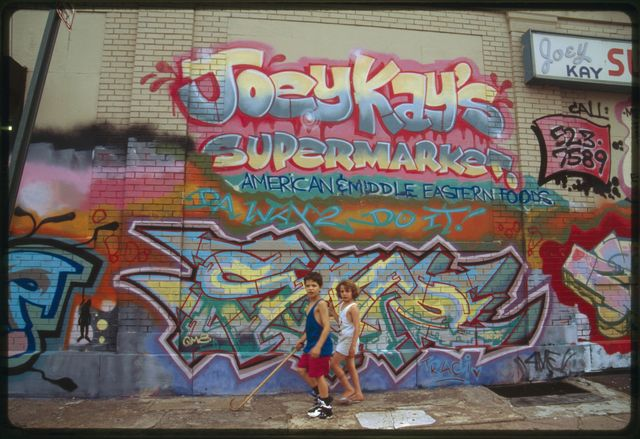Commissioned graffiti on the side of Joey Kay's Supermarket, East Main Street.