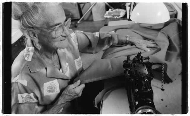 Florence DiStefano in her basement sewing shop where she makes and alters garments for herself, family members and friends.