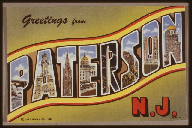 """Front of color postcard """"Greetings from Paterson, N.J."""" with illustrations of some of the city's most prominent buildings; ca. 1950."""