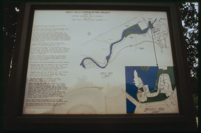 Interpretive panel at Passaic Falls Park, Paterson, NJ.