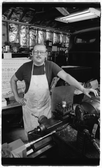 Larry at work in his machine shop.