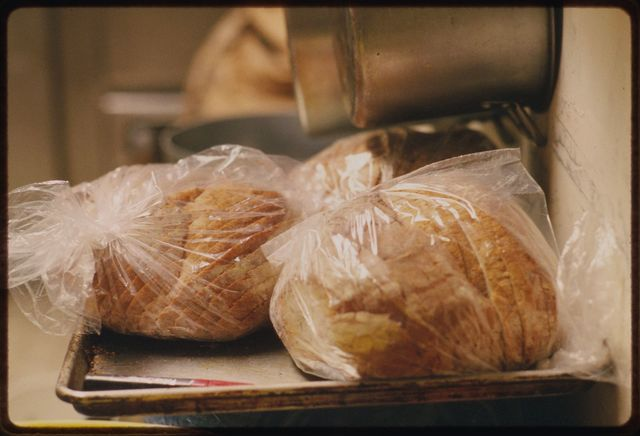 Loaves of sliced Italian bread used to make some sandwiches in the deli.