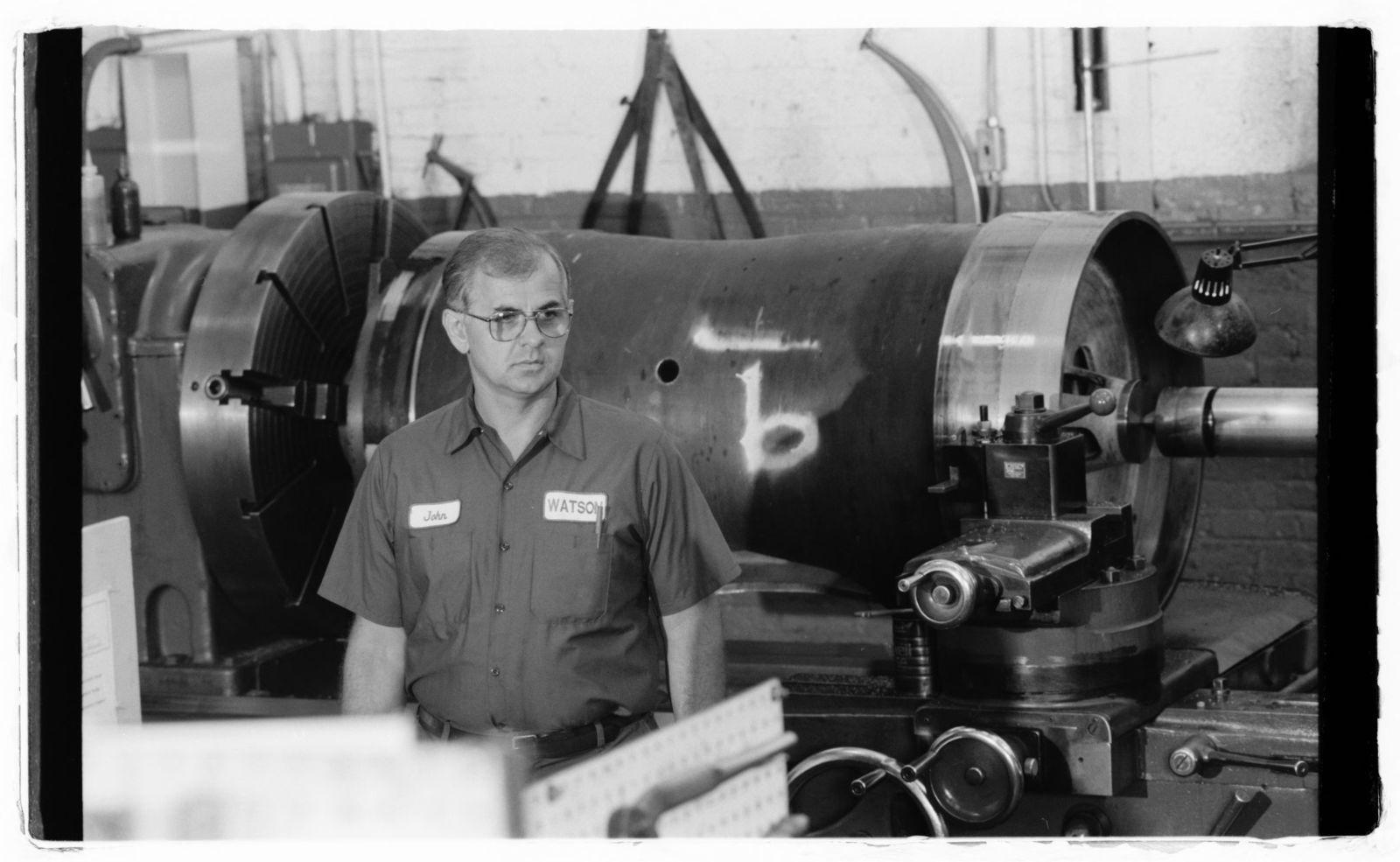 [Machinist Jan Sudol on shop floor at Watson Machine International.]