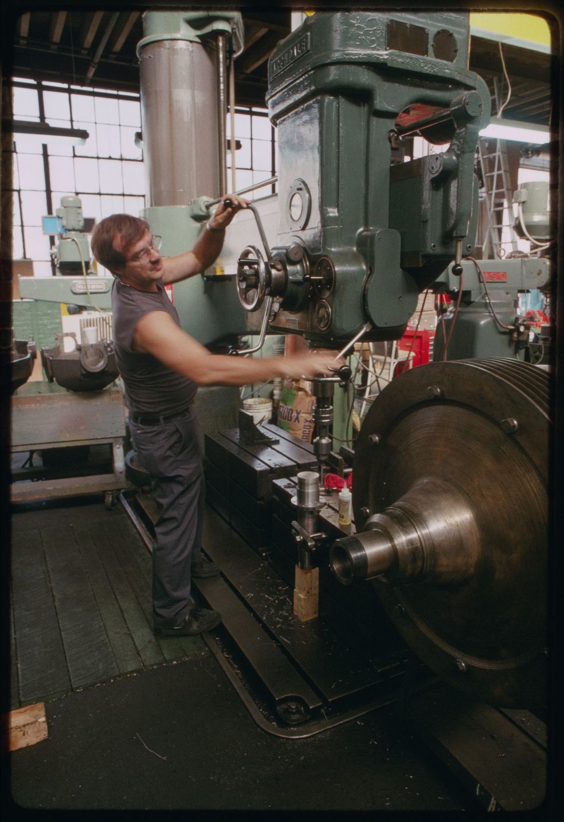 Pete Wychman operating the large boring mill.