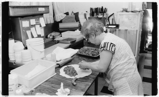 """Rocco's mother making """"scotch"""" at RC's Deli."""
