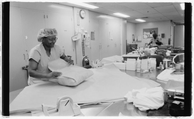 Technician Doretha Thomas at work in the Central Sterile Supply unit.