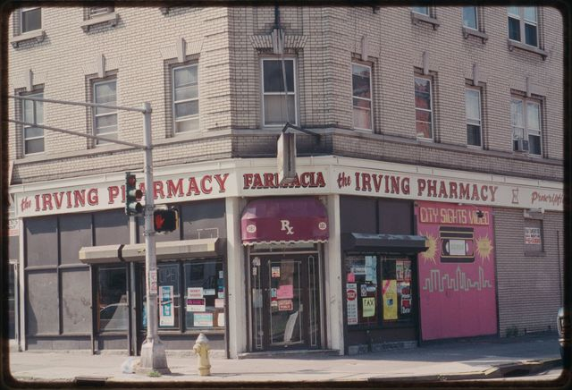 The Farmacia/Irving Pharmacy, head on.