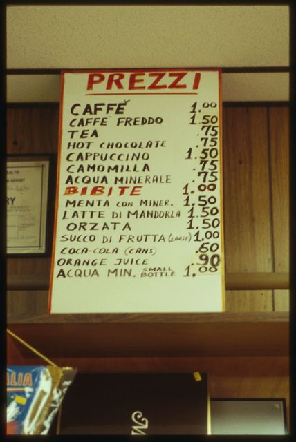 The price list for items purchased at the espresso bar.