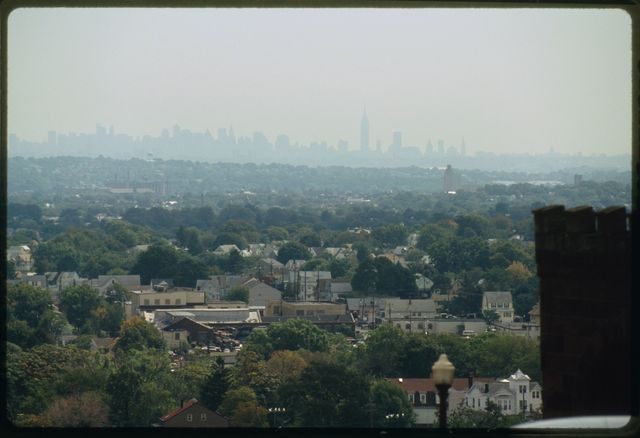 View looking east; Paterson is in the foreground and New York City is on the horizon.