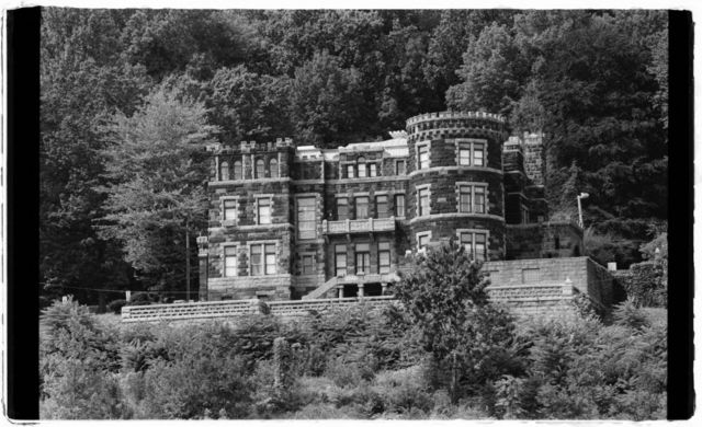 View of Lambert Castle, the former mansion of a textile baron.