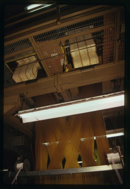 """View of punched """"cards"""" that control pattern of jacquard loom."""