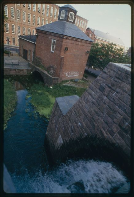 Water flowing through raceway system in Paterson's historic district; the raceway supplied hydraulic power for mills.