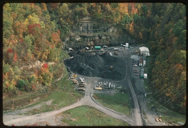 Aerial shot of entrance to Eagle Mine, an underground mine above Shumate's Branch