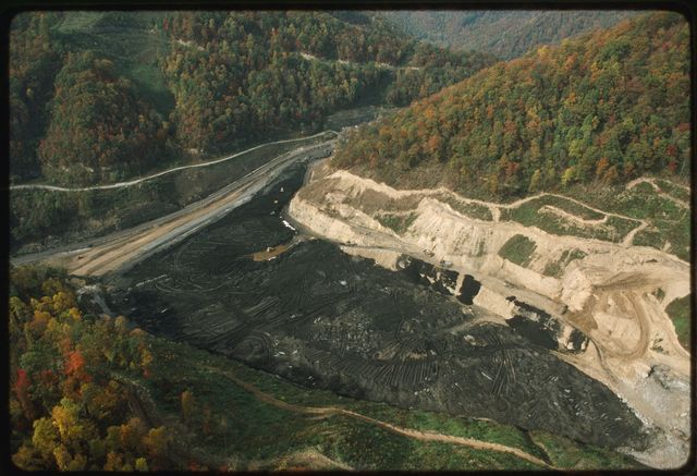 Aerial view of Battle Ridge Coal Pit, in Orgas