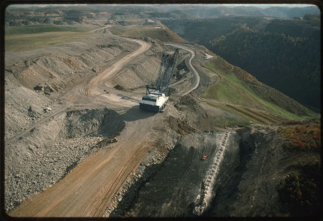Aerial view of Catenary Coal's Samples Mine, a Mountaintop Removal project at the head of Cabin Creek