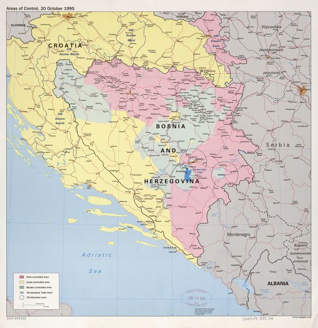 Areas of control, 20 October 1995 : [Bosnia and Hercegovina with Croatia].