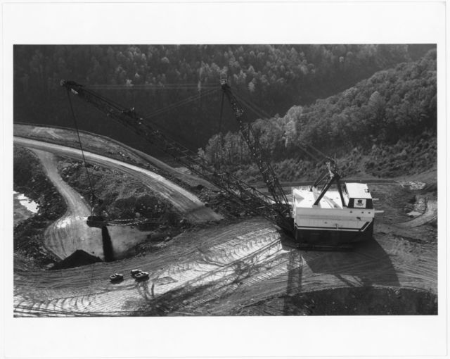 """""""Big John,"""" the dragline, shoveling coal at the Samples mountaintop removal mine on Cabin Creek"""