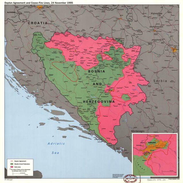 Dayton agreement and cease-fire lines, 24 November 1995 : [Bosnia and Hercegovina].