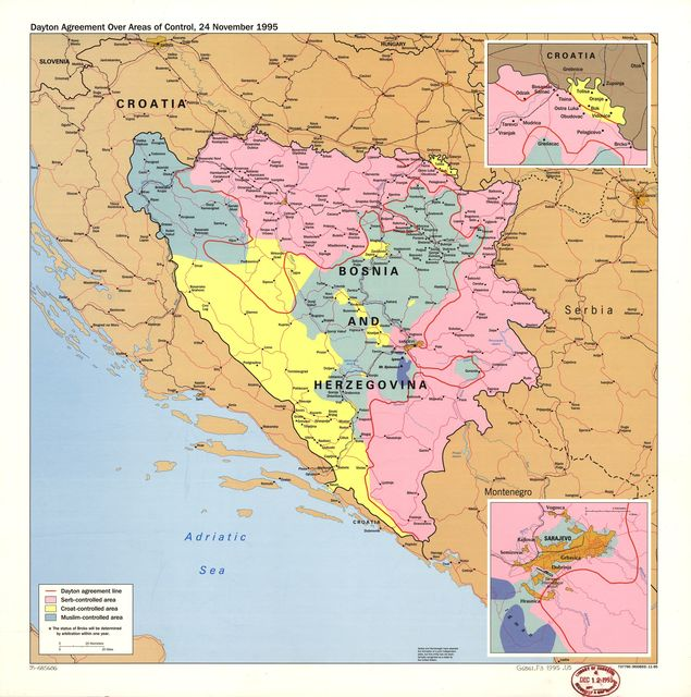 Dayton agreement over areas of control, 24 November 1995 : [Bosnia and Hercegovina].