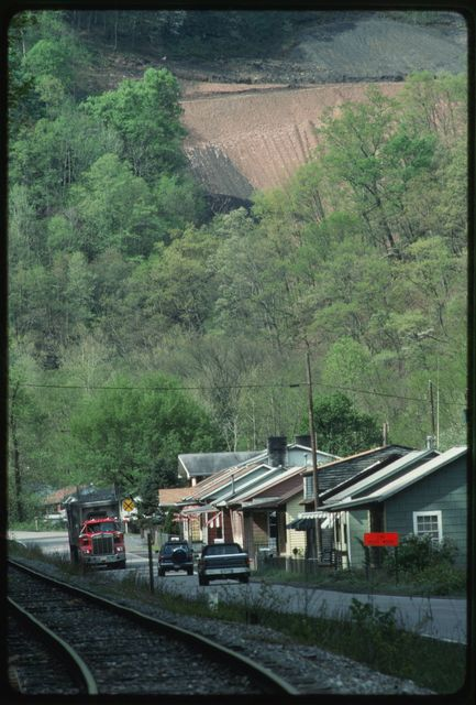Eunice, West Virginia, with a strip mine on the hillside in the background