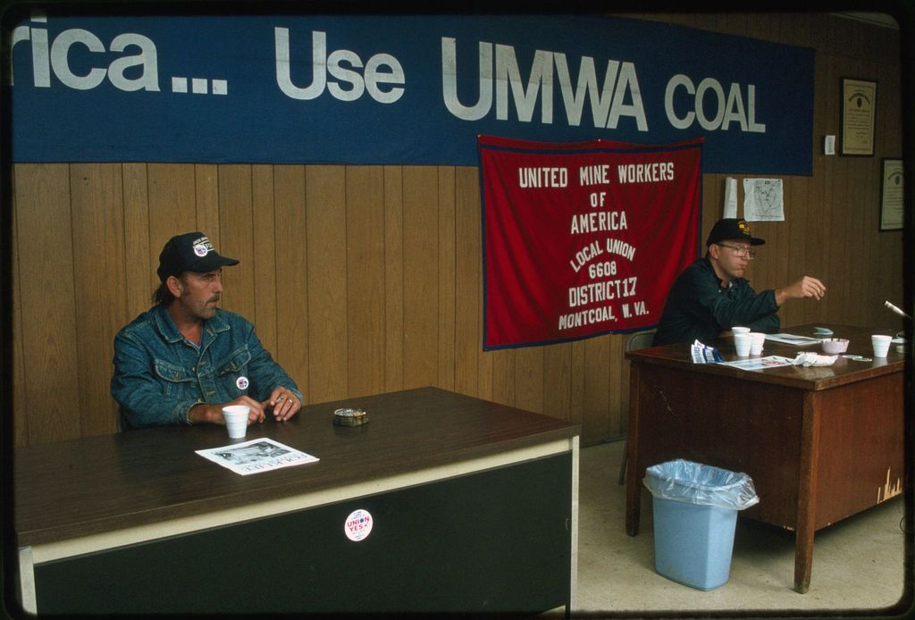 James Dye (left) and Jess Duncan, United Mine Workers of America union organizers, at the local union hall