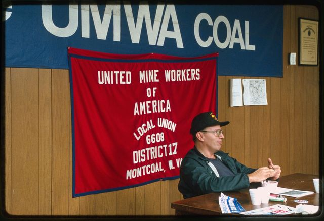 Jess Duncan of Sylvester, West Virginia, at the United Mine Workers of America local union hall