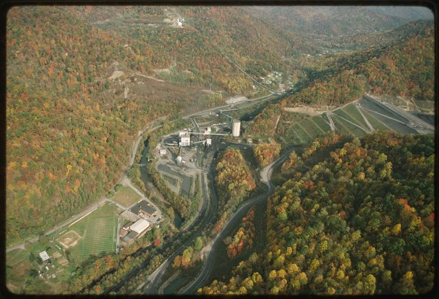 The Sludge Dam at Shumate's Branch, rising above the Marsh Fork Elementary School