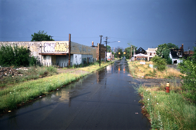 View east along East Palmer towards Chene, Detroit, 1995