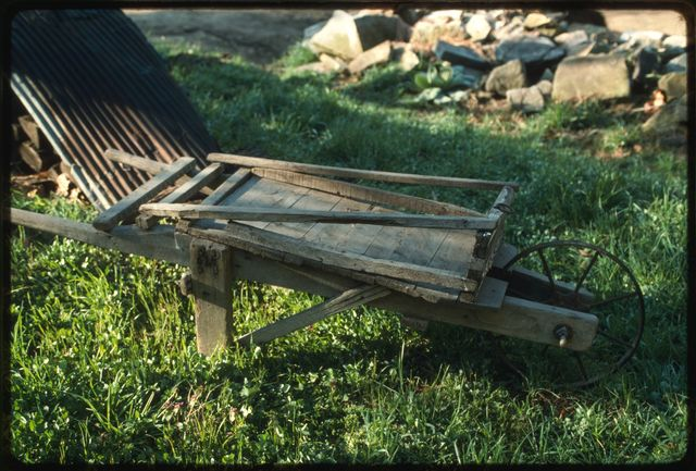 A wooden wheelbarrow made by Joe Pettry, Woody Boggs' grandfather, who lived on Shumate's Branch