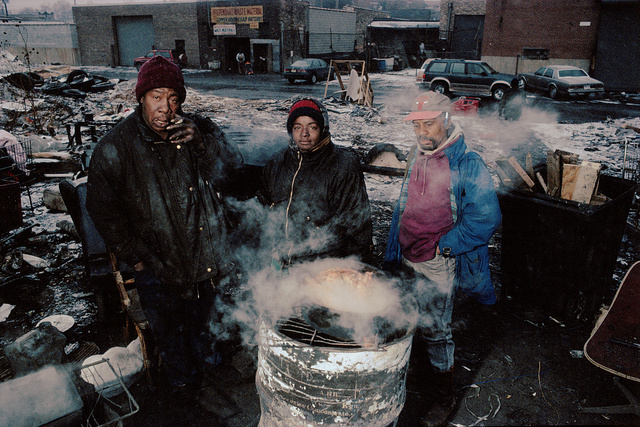 Big Lloyd, Tee and friend, Christmas, 1995, Fairfield Ave. by Roosevelt, Chicago, 1996