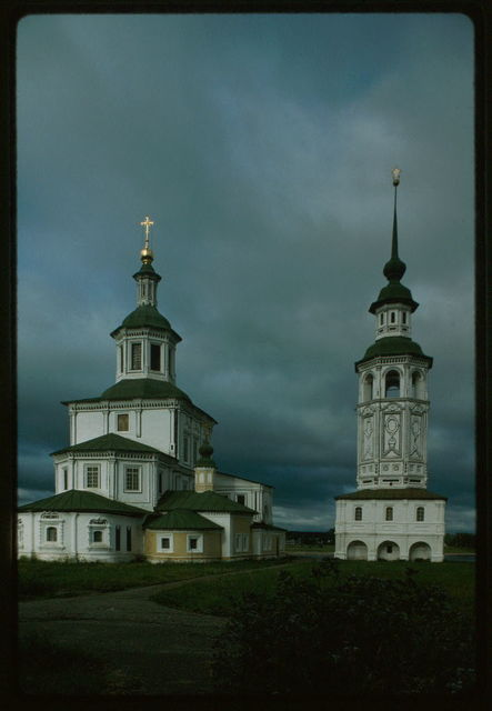 Church of St. Nicholas Gostunskii (Gostinnyi) (1680s, 1720s), with bell tower (1720s), east view, Velikii Ustiug, Russia