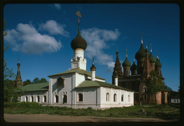 Church of the Tikhvin Icon of the Mother of God (1686-1690s), southeast view, whose red brick walls have been repainted white in a recent restoration, with Church of Saint Nicholas Mokryi (1665-72), in background, Yaroslavl', Russia