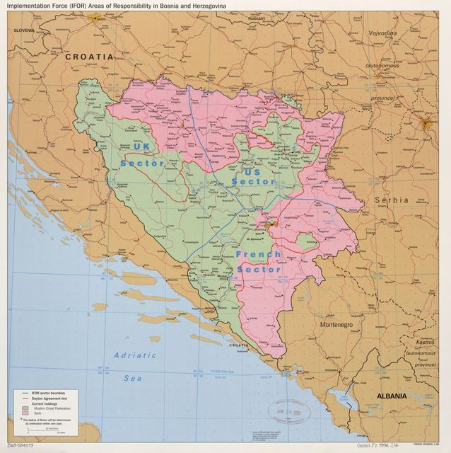 Implementation Force (IFOR) areas of responsibility in Bosnia and Herzegovina.