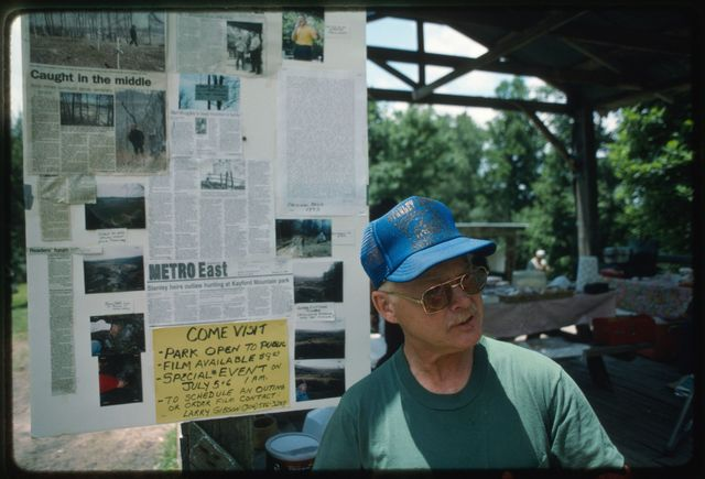 Information about mountaintop removal and the role of Larry Gibson (one of the Stanley Heirs' Park's founders) in protesting it posted on the picnic pavilion
