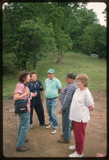 Mary Hufford interviewing former residents of Kayford Mountain assembled for Memorial Day Celebration