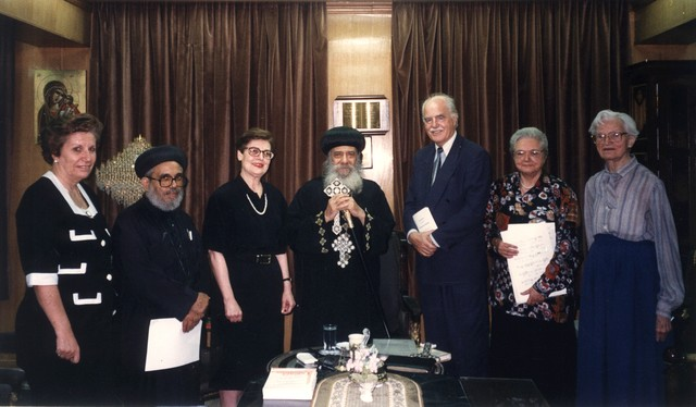 [ Meeting the Pope at the Patriarchate: Laila Ghali, Anba Athanasius, Laurence Moftah, His Holiness Pope Shenouda III, Mark Linz, Margit Tóth, Martha Roy], July 23, 1996