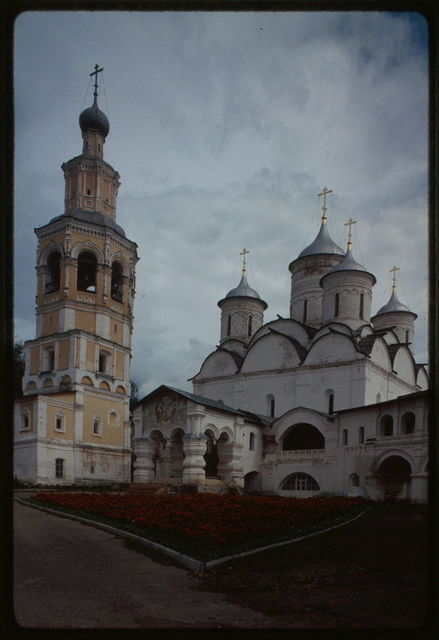 Savior-Prilutskii Monastery, Cathedral of the Savior (1537-42), southwest view, with bell tower (1645-56), Vologda, Russia