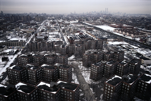 View of Lower Manhattan from high rise senior housing building, Kingsboro Houses in the foreground, Buffalo Avenue at Bergen Street, Brooklyn, 1996