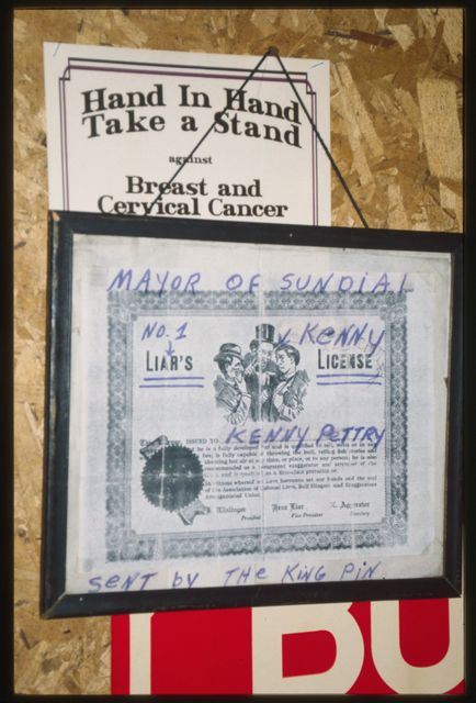 "A ""Liar's License"" hanging behind the bar at the Sundial Tavern"