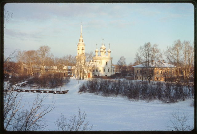 Church of the Purification (1731-35), southwest view, with Vologda River in winter, Vologda, Russia