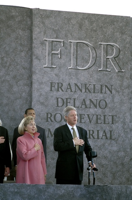 First Lady Hillary Clinton and President Bill Clinton at the 1997 dedication of the Franklin Delano Roosevelt Memorial in Washington, D.C.