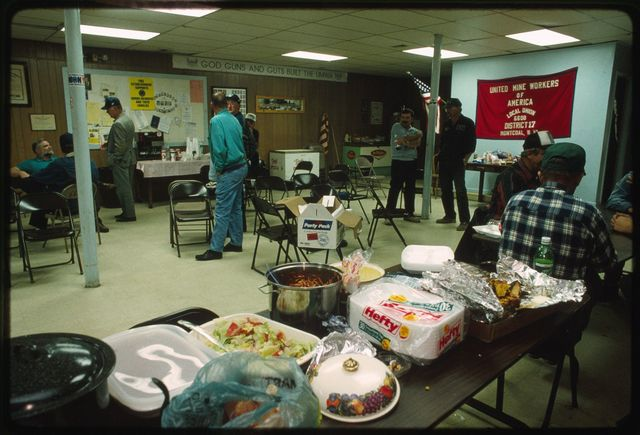 Lunch at the United Mine Workers of America (UMWA) union hall where miners and organizers wait for the results of a vote