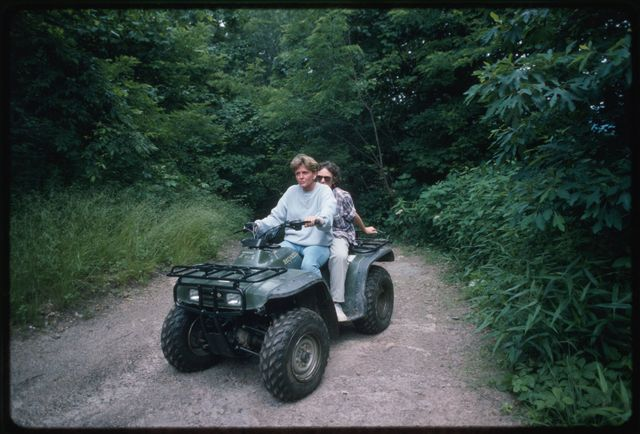 Mary Jarrell and Mary Hufford on the four-wheeler