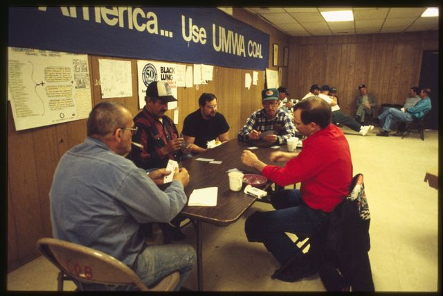 Miners and organizers waiting for the results of a vote at the United Mine Workers of America (UMWA) union hall