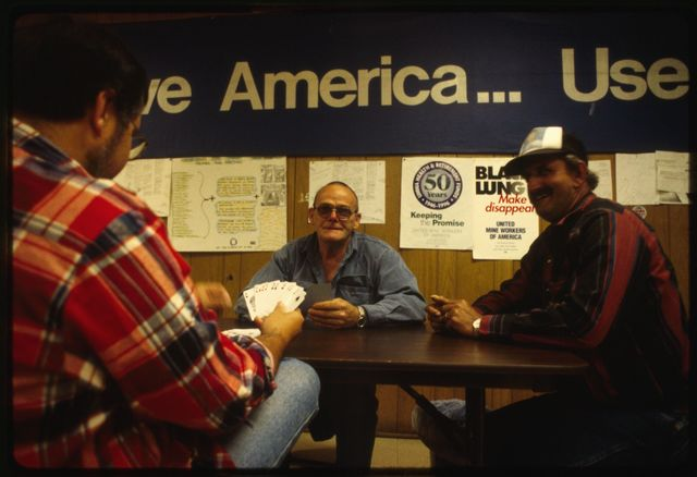 Miners and organizers waiting for the results of a vote at the United Mine Workers of America (UMWA) union hall: (L-R) Lewis Harvey, Bill Spencer, Bob Brown
