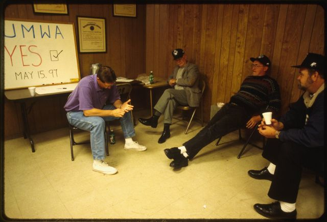 Miners and organizers waiting for the results of a vote at the United Mine United Mine Workers of America (UMWA) union hall